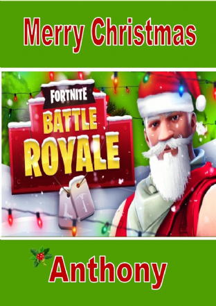 Personalised Fortnite Battle Royale Christmas Card Design 2